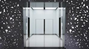 奥のエレベータホールを見る