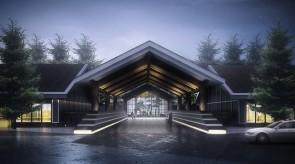 齐齐哈尔扎龙温泉会馆-入口门廊效果图