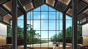 齐齐哈尔扎龙温泉会馆-大堂内庭景观效果图